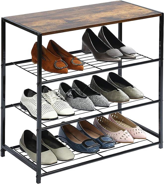 Heavy Duty 4 Tier Metal Shoe Rack Mesh Utility Shoe Rack Storage Organizer Brown