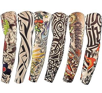 f661fa5c5 Diossad 6 Pcs Temporary Tattoos Sleeves Sunscreen Arts Fake Arm with Crown  Heart Tiger Skull Tribal