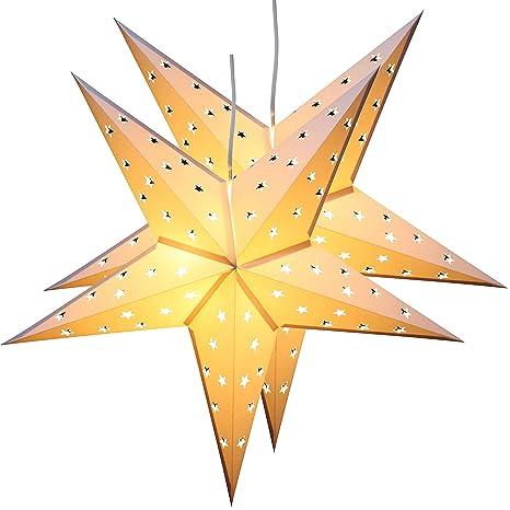 Stella Natale Di Carta.Brubaker Due Stelle Di Natale Stella Di Carta Carta Stella Pieghevole Con Luci Led 60 Cm O Bianco