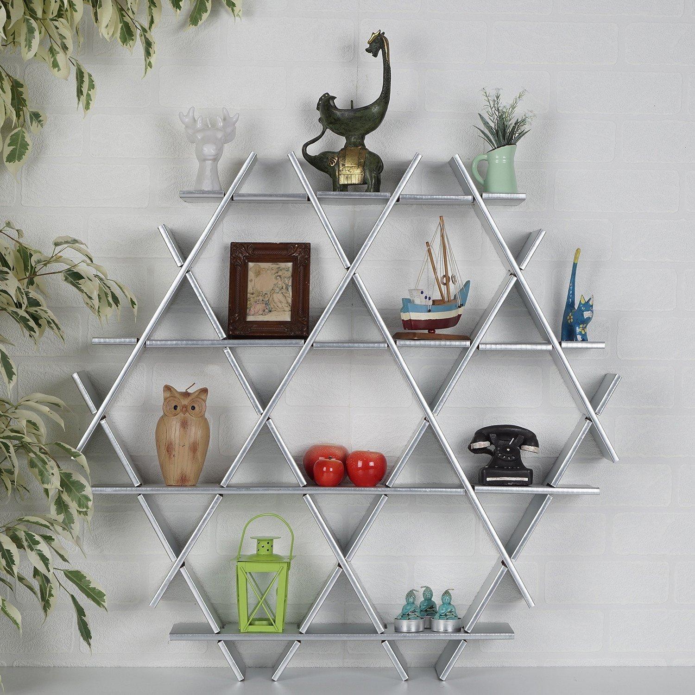 LaModaHome Cardboard Shelf 100% Corrugated Cardboard (27.6'' x 26.4'' x 4.3'') Silver Triangle Hexagon Decorative Living Room Design Storage Shelf Multi Purpose by LaModaHome