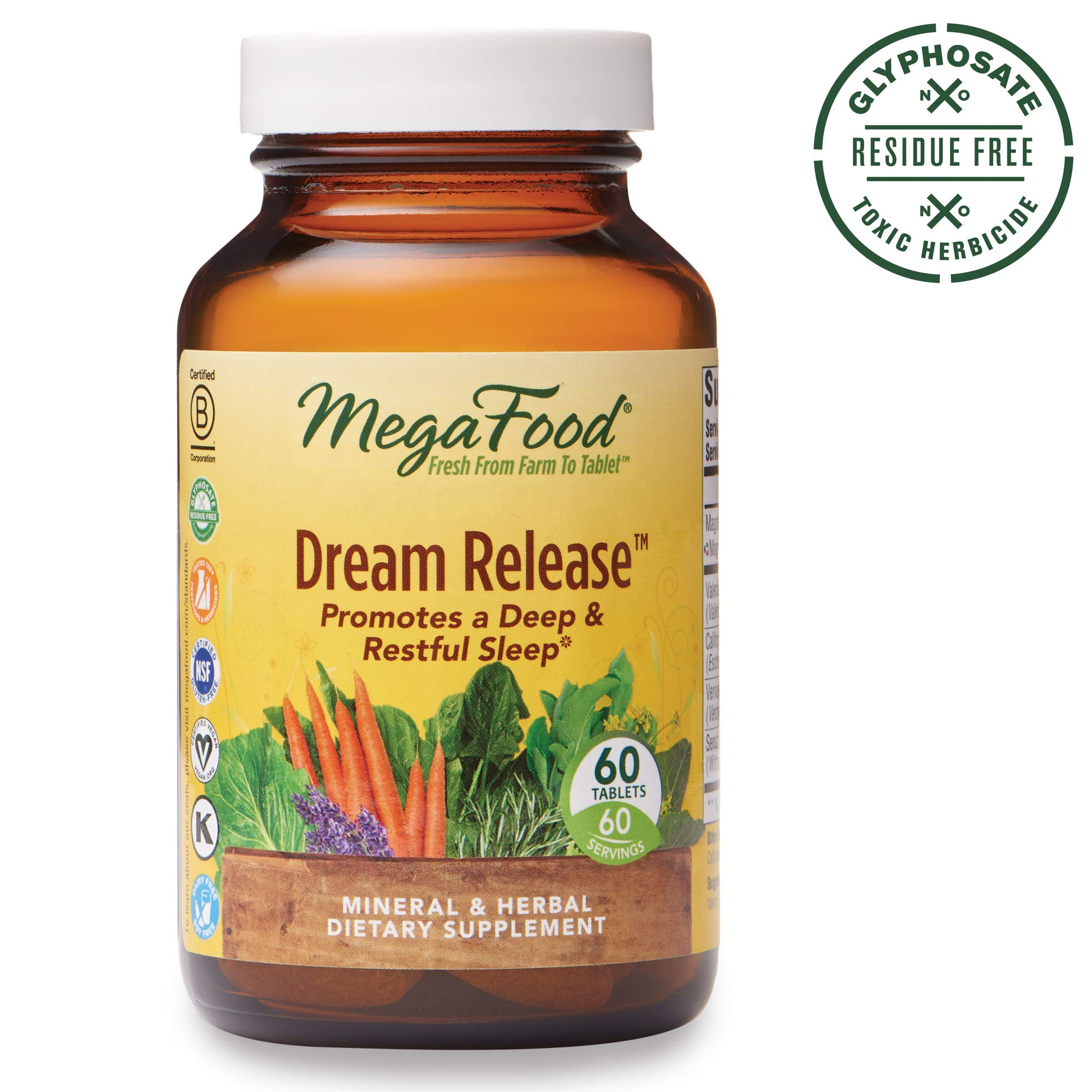 MegaFood, Dream Release, Promotes a Restful Sleep and Relaxation, Sleep Aid Herb and Mineral Supplement, Gluten Free, Vegan, 60 Tablets (60 Servings) (FFP) by MegaFood