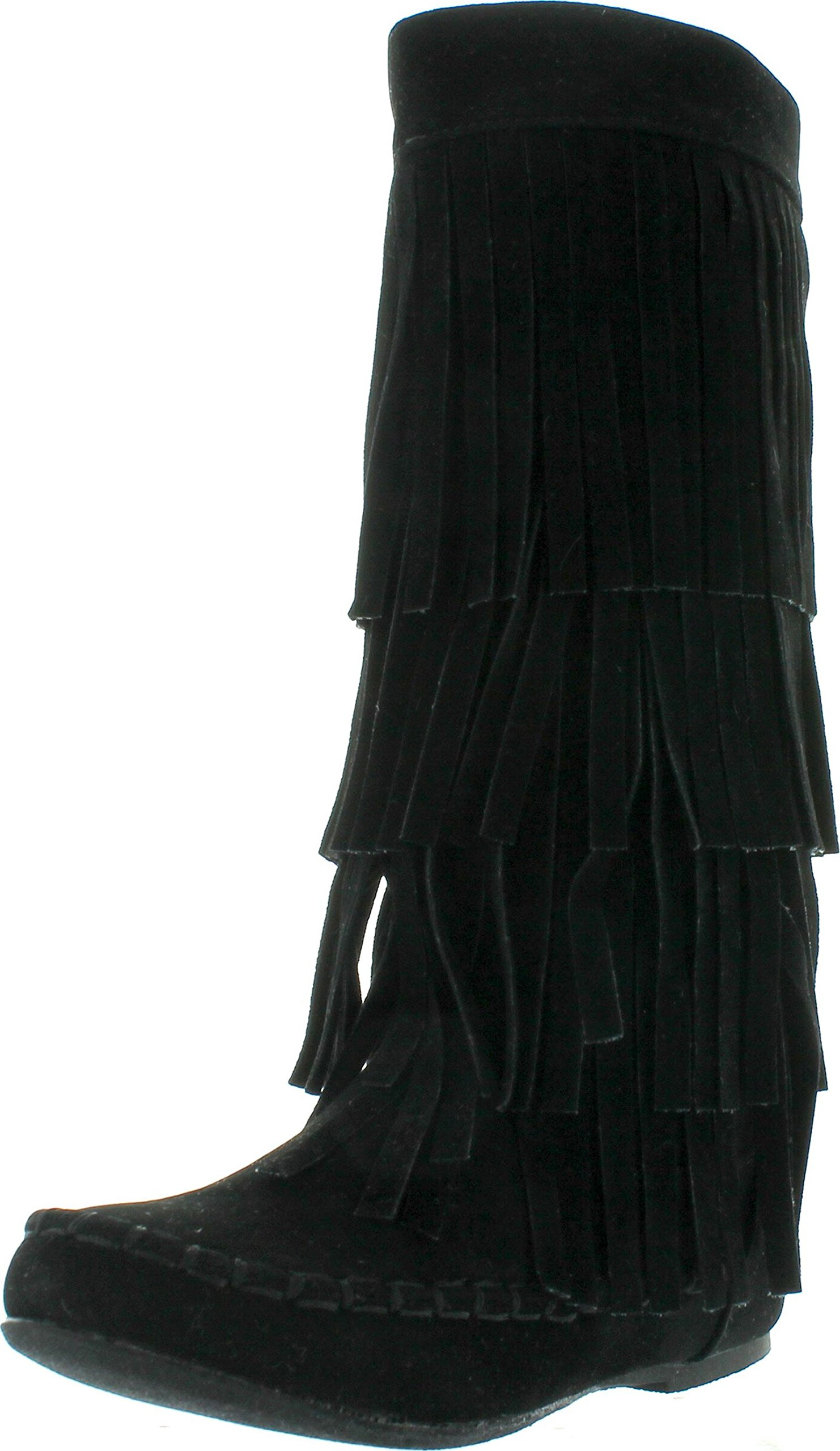 I LOVE KIDS Ava-18K Children's 3-Layers Fringe Moccasin Style Mid-Calf Boots,Black,13 by I LOVE KIDS (Image #1)