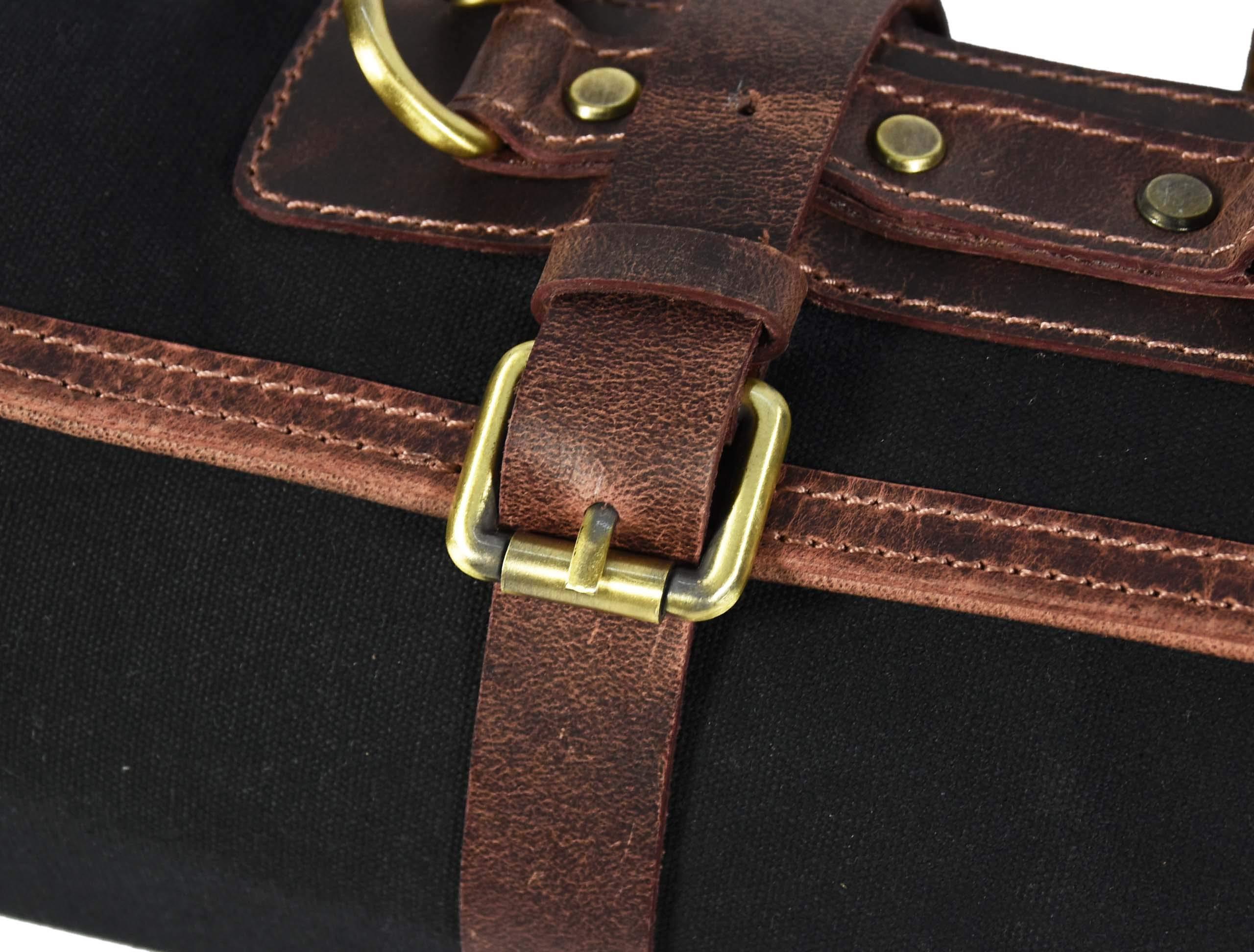 Leather Knife Roll Storage Bag   Elastic and Expandable 10 Pockets   Adjustable/Detachable Shoulder Strap   Travel-Friendly Chef Knife Case Roll By Aaron Leather (Raven, Canvas) by AARON LEATHER GOODS VENDIMIA ESTILO (Image #9)