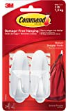 2x Command Medium Hooks with 4x Command Strips (17081)-white