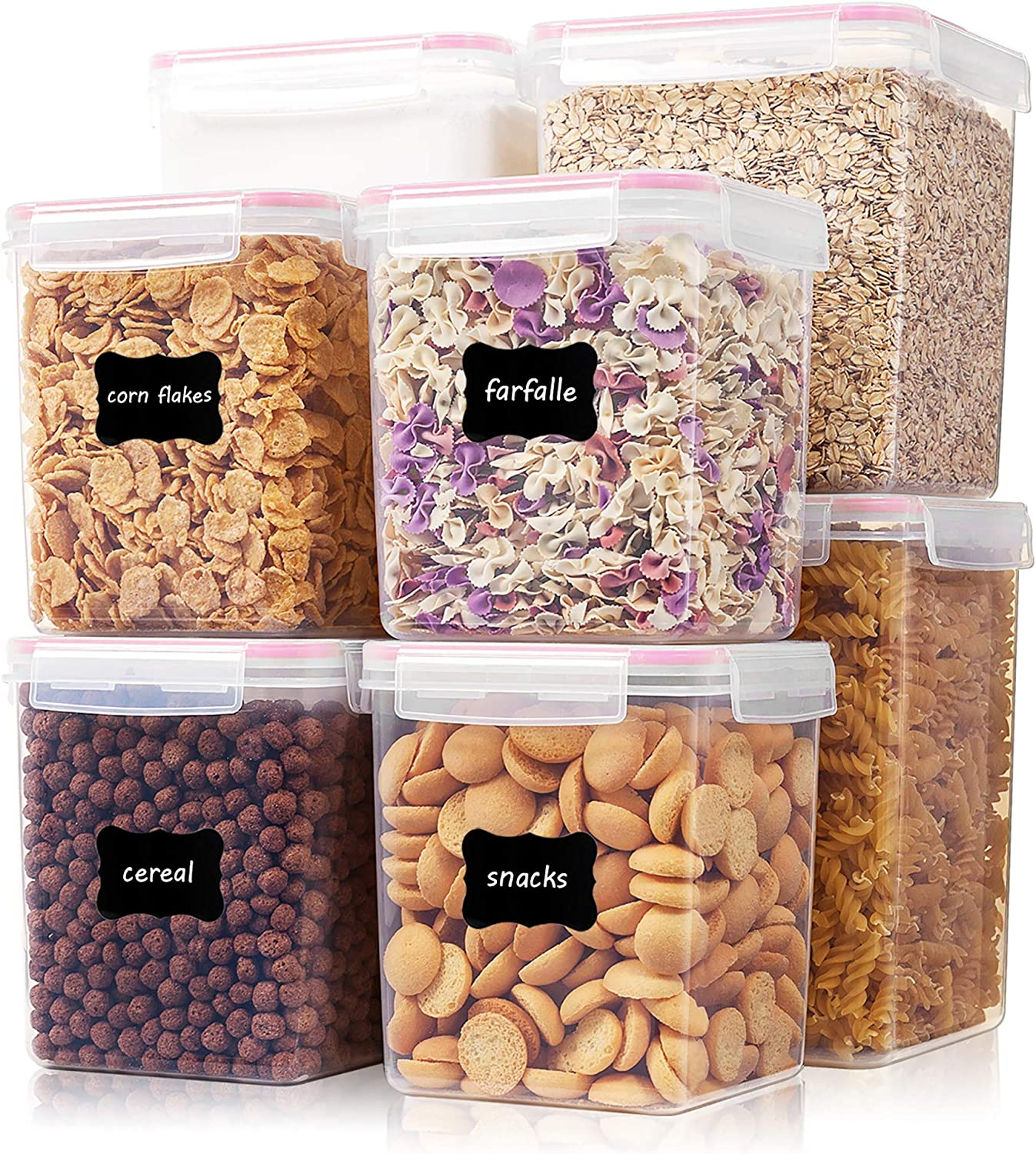 Large Tall Airtight Food Storage Containers 8 Pieces, Vtopmart BPA Free Plastic Kitchen Storage Containers for Bulk Food, Flour, Sugar and Baking Supplies, with 24 Labels, Pink