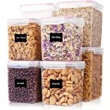 Large Tall Airtight Food Storage Containers 8 Pieces, Vtopmart BPA Free Plastic Kitchen Storage Containers for Bulk Food, Flo