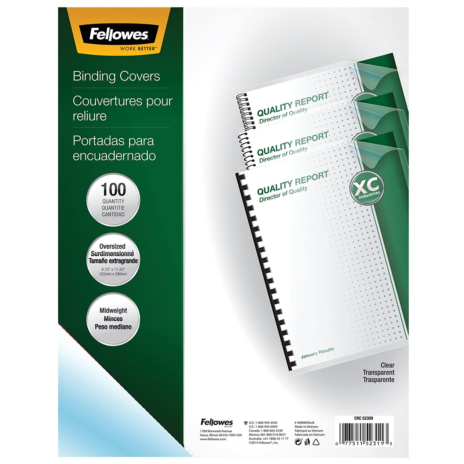 Fellowes 52309 8.75 x 11.25-Inches Transparent Presentation Binding Cover, PVC Material, 25 Per Pack (Clear) Office Supplies