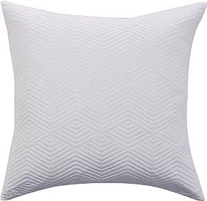 Echelon Home Monterey Quilted Cotton Blanket, Queen, White