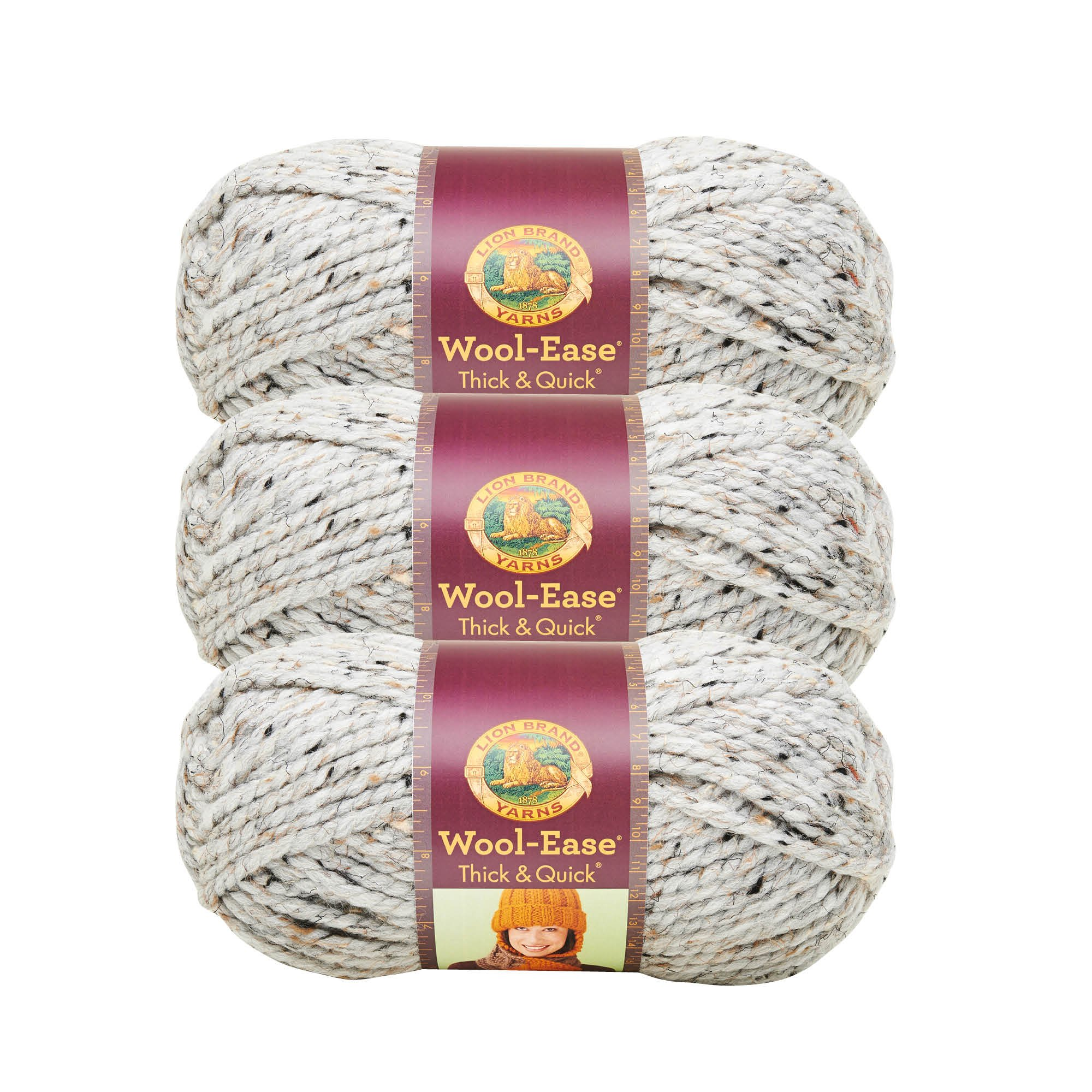 (3 Pack) Lion Brand Yarn 640-154D Wool-Ease Thick and Quick Yarn, 97 Meters, Grey Marble