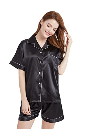 TONY AND CANDICE Womens Satin Sleepwear Short Sleeve Pajamas Set Button  Down Nightwear (Small b7de83e55