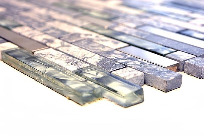 Mosaikfliesen Fliesen Mosaik K/üche Bad WC Wohnbereich Fliesenspiegel grau Glas Stein gl/änzend 8mm Neu #644