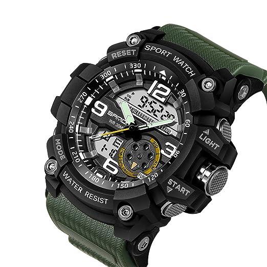 Reloj deportivo militar, analógico de cuarzo y digital Wdnba para hombre, sumergible y con LED.: Amazon.es: Relojes