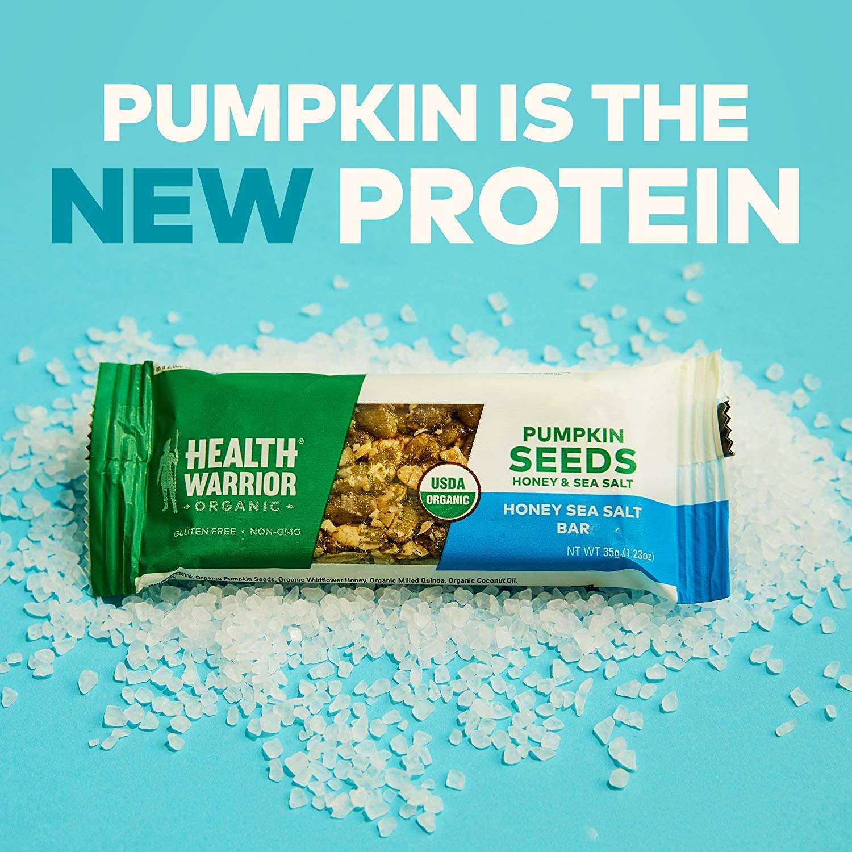 Health Warrior Pumpkin Seed Protein Bars, Honey Sea Salt, 8g Plant Protein, Gluten Free, Certified Organic, 34 Count (.Honey Sea Salt - 34 Count)