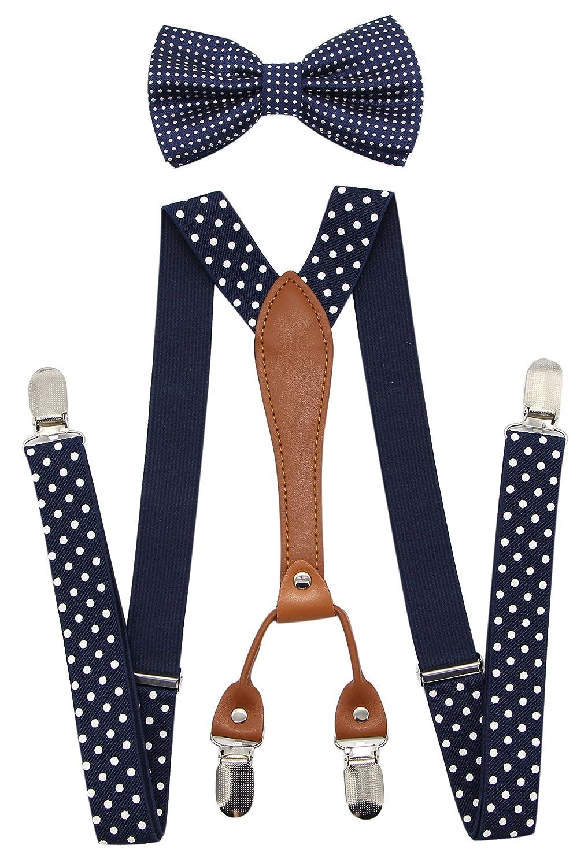 JAIFEI Suspenders & Bowtie Set- Men's Elastic X Band Suspenders + Bowtie For Wedding (Dots-Royal Blue)