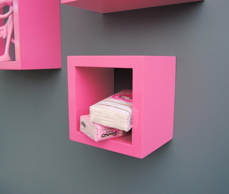 TS Ideen 7126 Set di 3 Mensole a Cubo da Parete Stile Retro, MDF ...