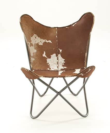 Amazon Com Deco 79 94988 Light Brown Cowhide Chair With Silver Iron