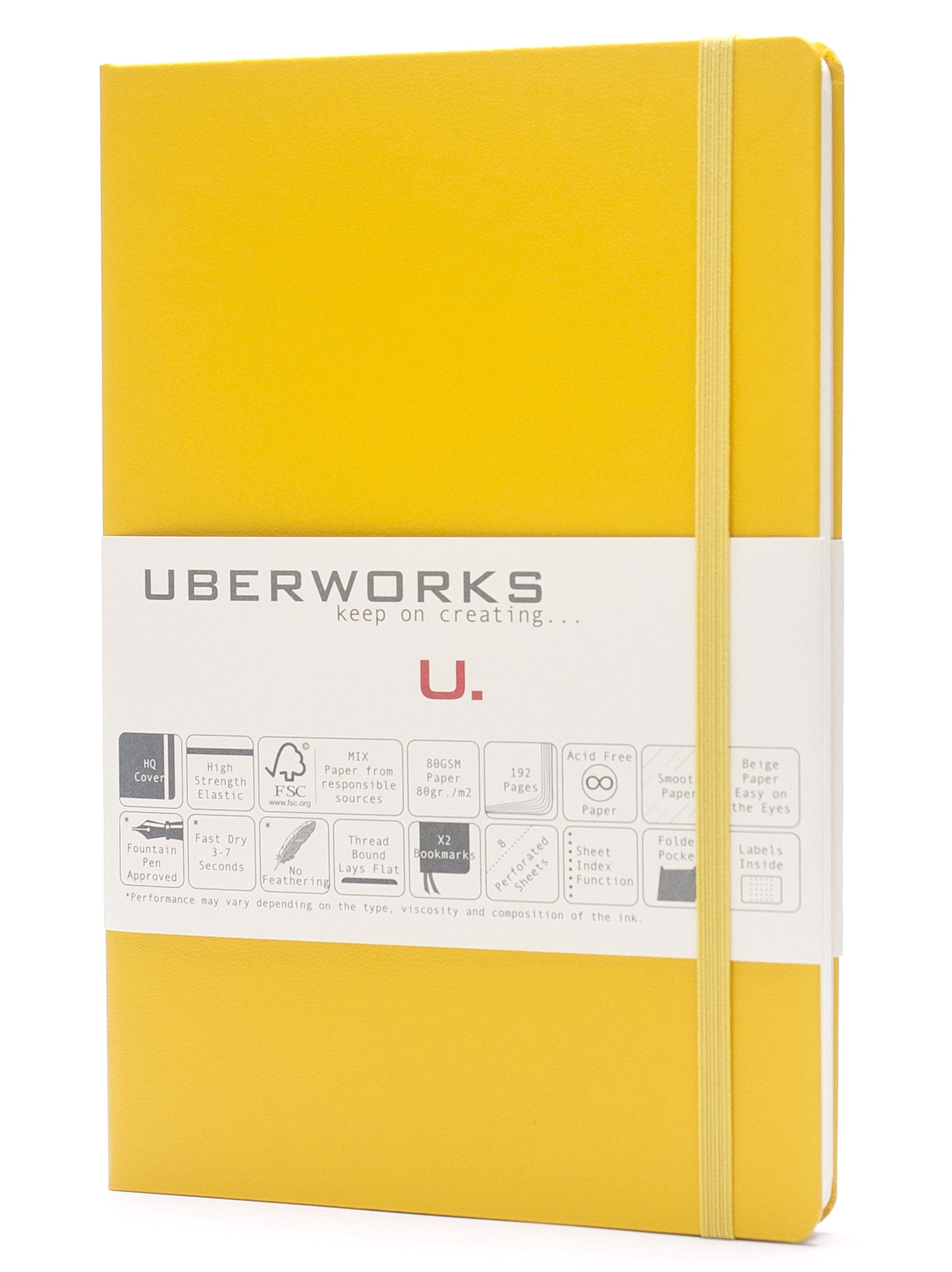 UBERWORKS Tehnik Classic Hardcover Dotted Notebook | Stay Organized | Premium Writing All Purpose, Bullet Journal, Planner, Organizer, BuJo | 192 A5 Dot-grid Pages with Back Folder, Labels | Yellow