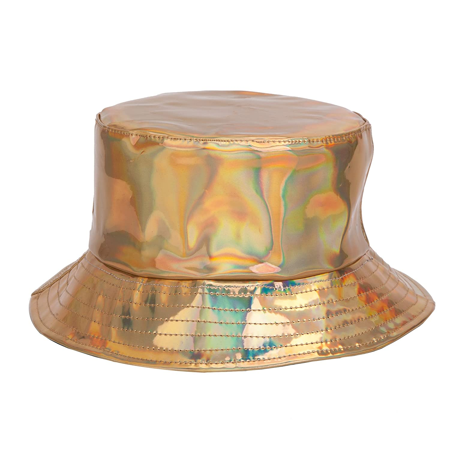 BFD One Holographic Bucket Hat Shiny Metallic PVC Bucket Hat Silver Gold Mens Womens Sun Hat One Size Fits All Wipe Clean Shiny Unisex Hologram Gold Silver Bucket Hat