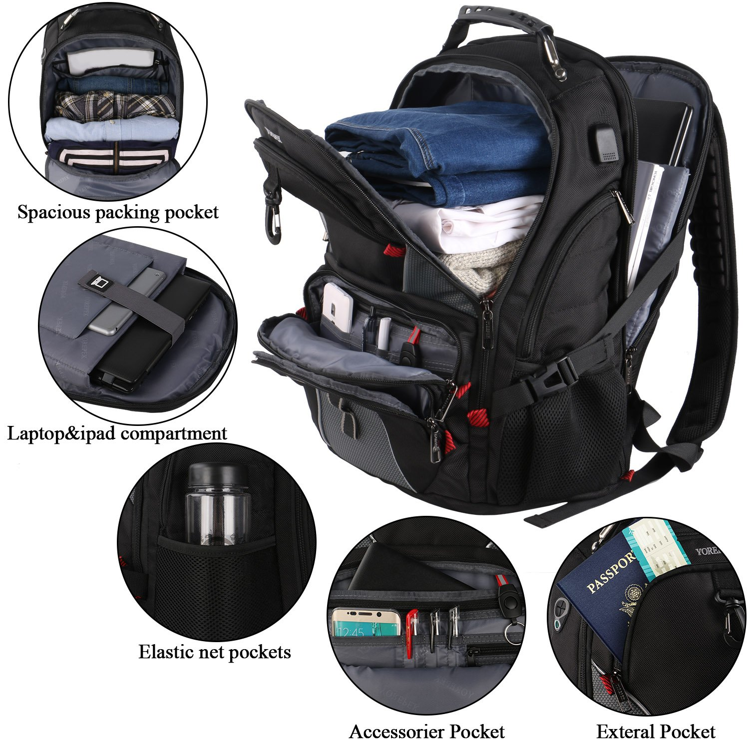 17 inch Laptop Backpack,Large Travel Backpack,TSA Friendly Durable Computer Bagpack with Luggage Sleeve for Men Women, Water Resistant Business College School Bag with USB Charger Port, Black by YOREPEK (Image #2)