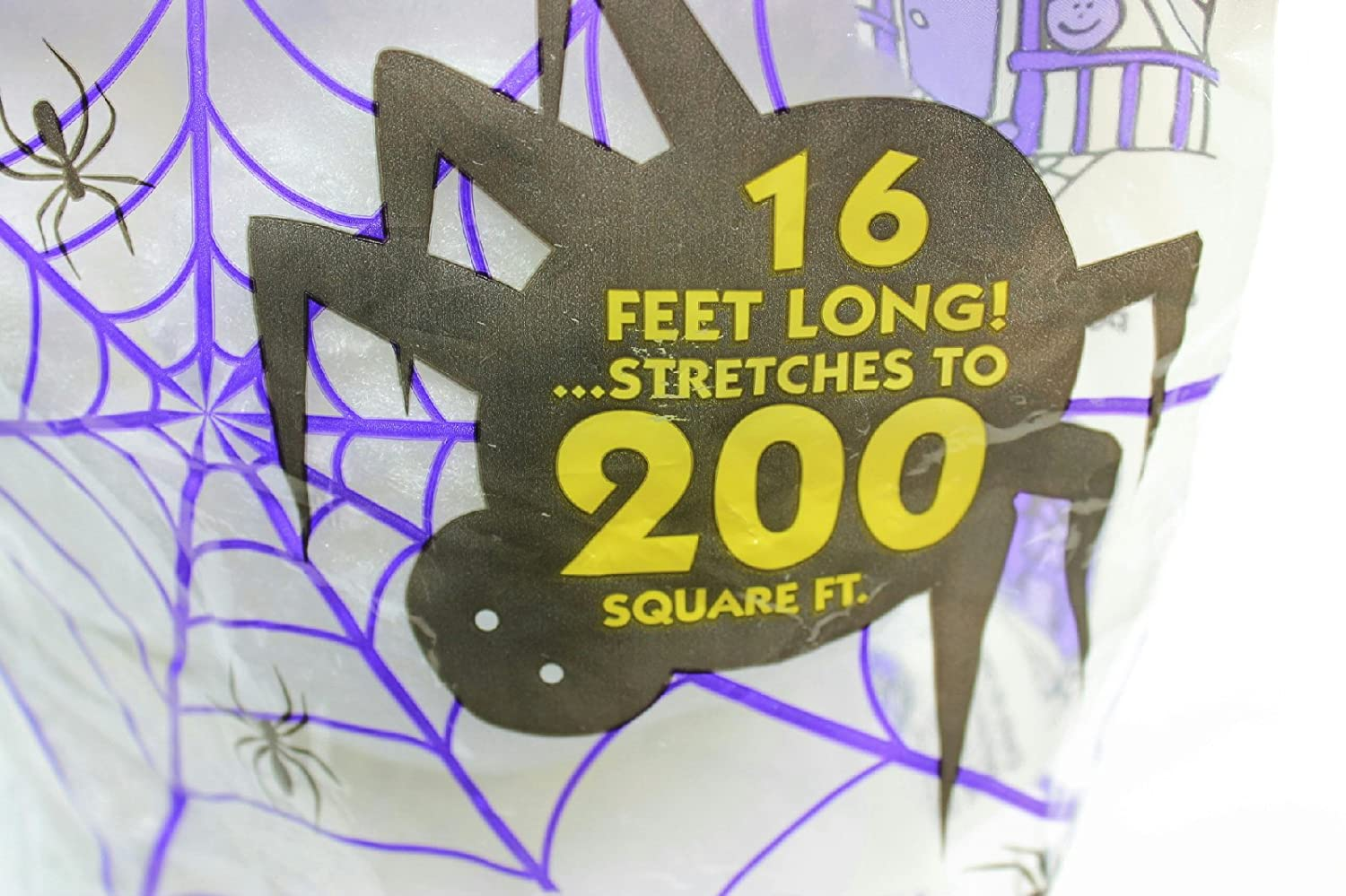 Pack of 2 White 16 ft Long Super Stretch Scary Spider Web Halloween Decoration