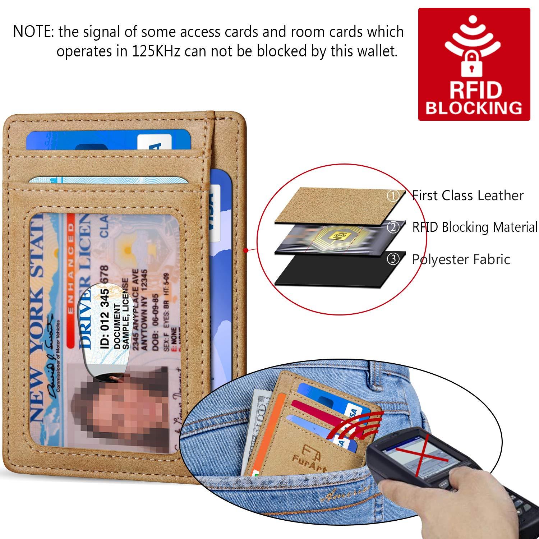 RFID Blocking FurArt Slim Minimalist Wallet Credit Card Holder with Disassembly D-Shackle Front Pocket Wallets