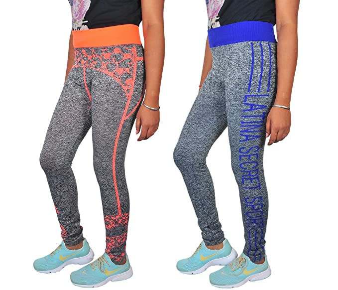 48980079d9de24 Golazo Girl's Cotton and Lycra High Waist Compression Tummy Tuck Leggings ( Blue and Orange, Free Size) -Combo of 2: Amazon.in: Clothing & Accessories
