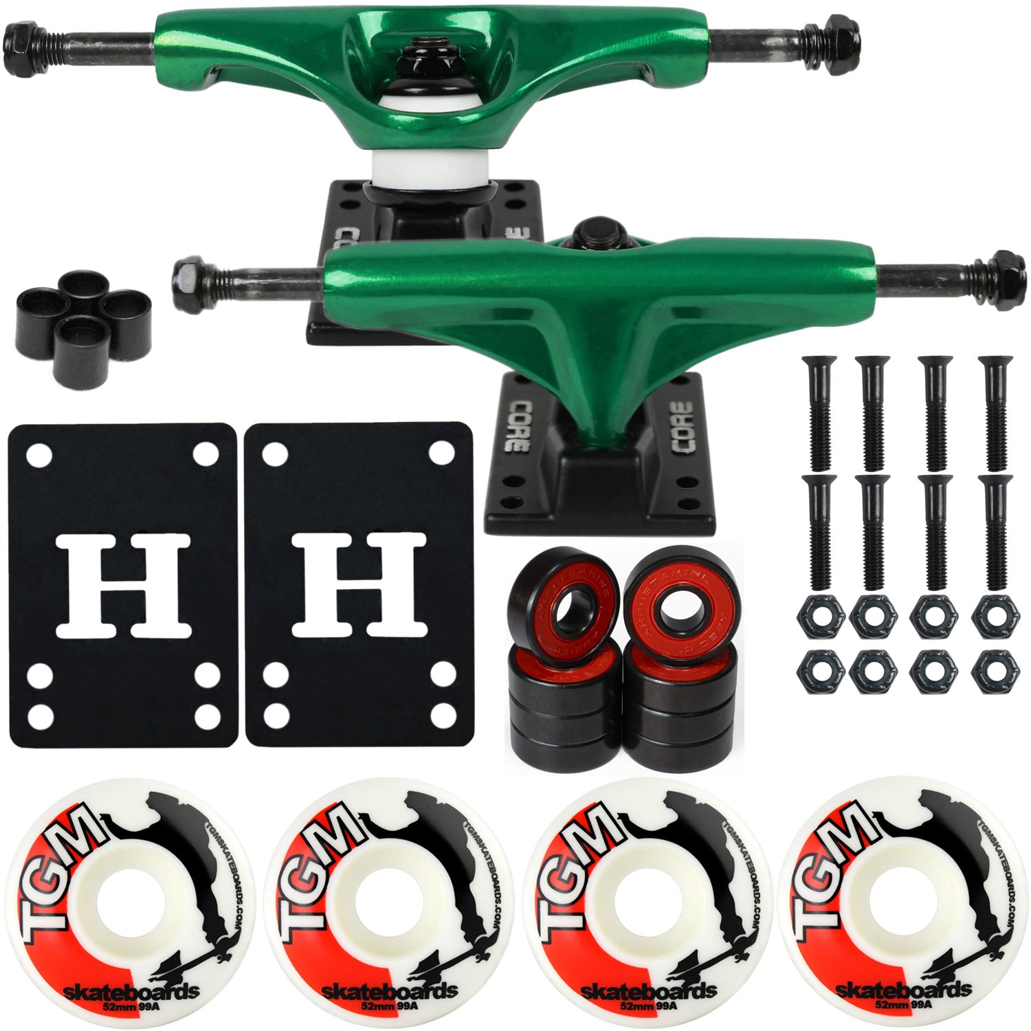 CORE Skateboard Package 5.0'' Trucks 52mm with White Wheels + Components (Metallic Green Hanger/Black Base) by CORE