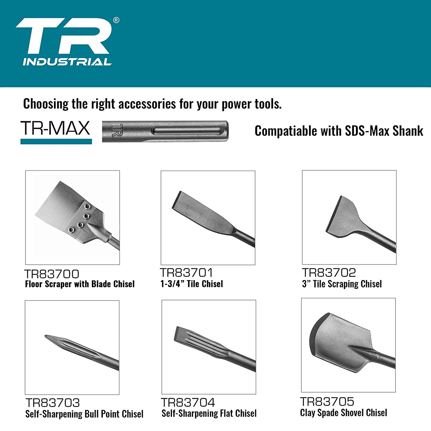 x 16 in Flat Chisel TR Industrial 1 in Compatible with TR-Max and SDS Max