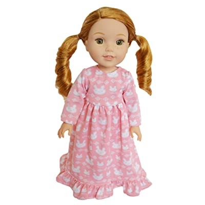 Brittany's My Pink Bunny Nightgown Compatible with Wellie Wisher Dolls, Glitter Girl Dolls, Hearts for Hearts Dolls- 14 Inch Doll Clothes: Toys & Games