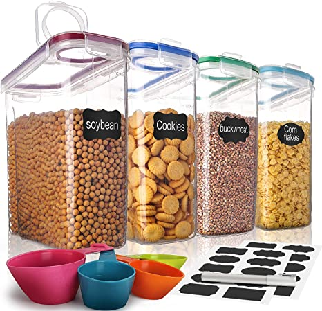 4x 4L Plastic Airtight Cereal Containers Food Storage Dispenser Dry Food Kitchen