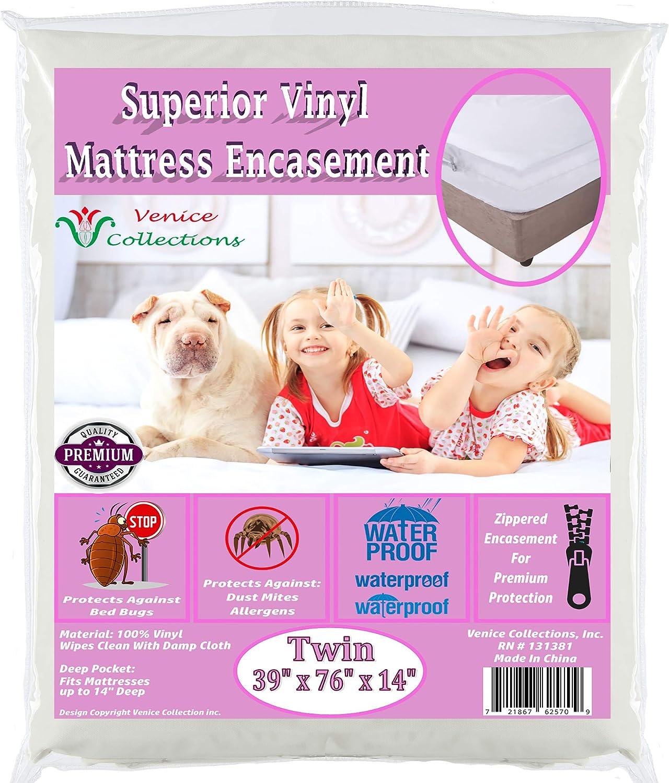 Venice® Superior Heavy 8 Gauge Vinyl Zippered Mattress Cover Water Bed-Bug Proof