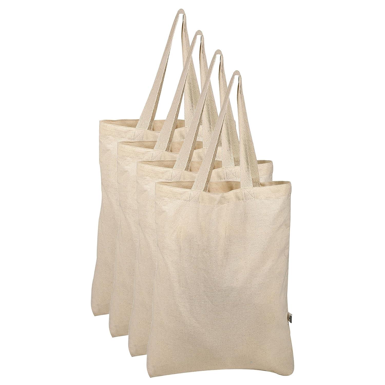 sekawatiバッグコットンショッピング、パーティー、環境に優しいGroceryブラックExtra Strong再利用可能なGoグリーン100 % Qlty Tote Bags ( Set of 4 ) 8 Oz ベージュ SD-1110 B075H2KH4G  ナチュラル 8 Oz