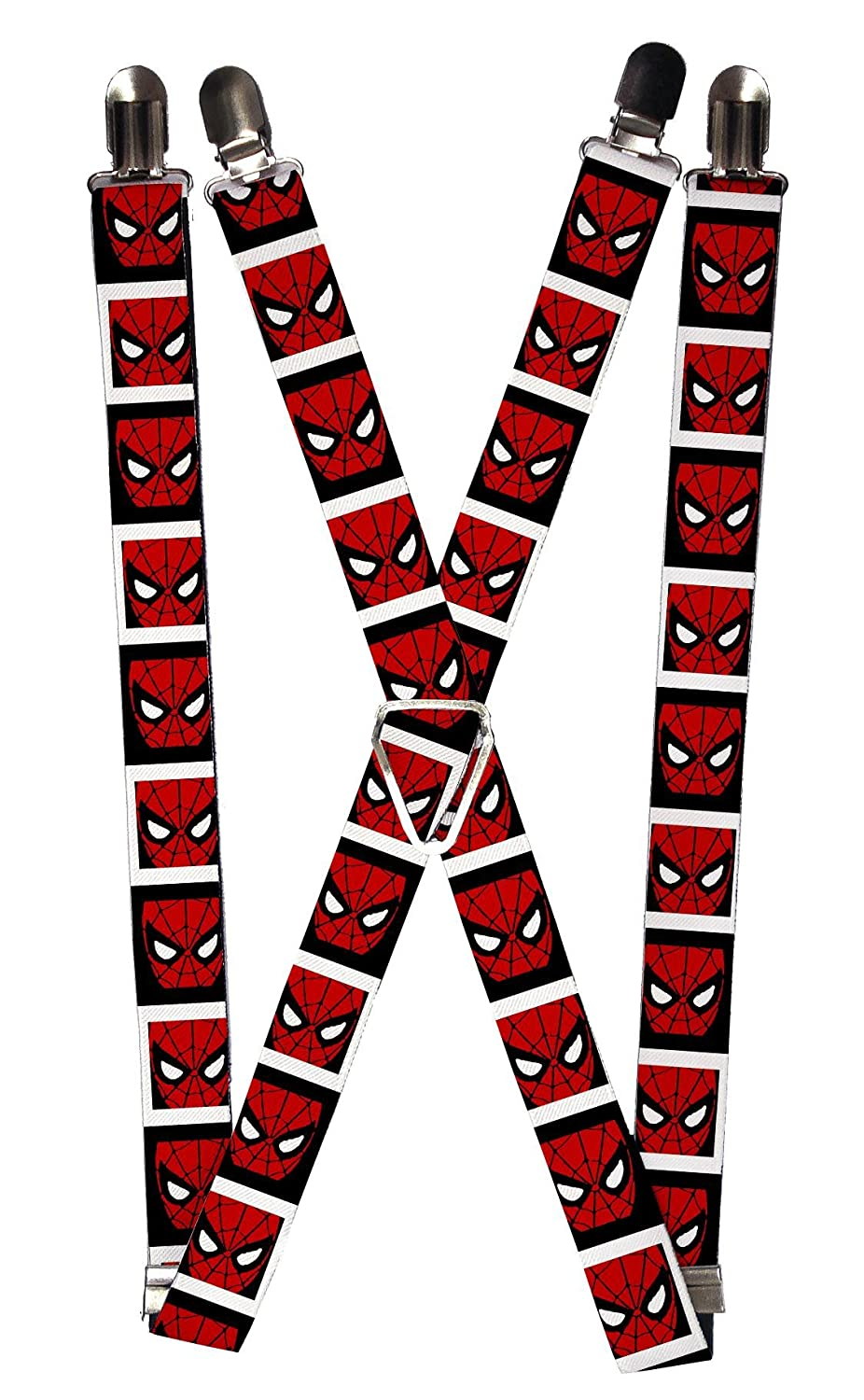 Buckle Down Men's Elastic Marvel Spider-Man Clip End Suspenders, Spiderman