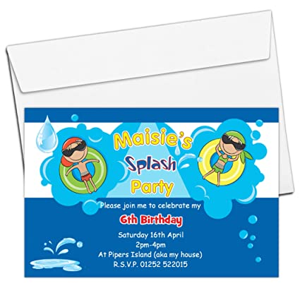 10 Personalised Girls Swimming Party Pool Party Invitations