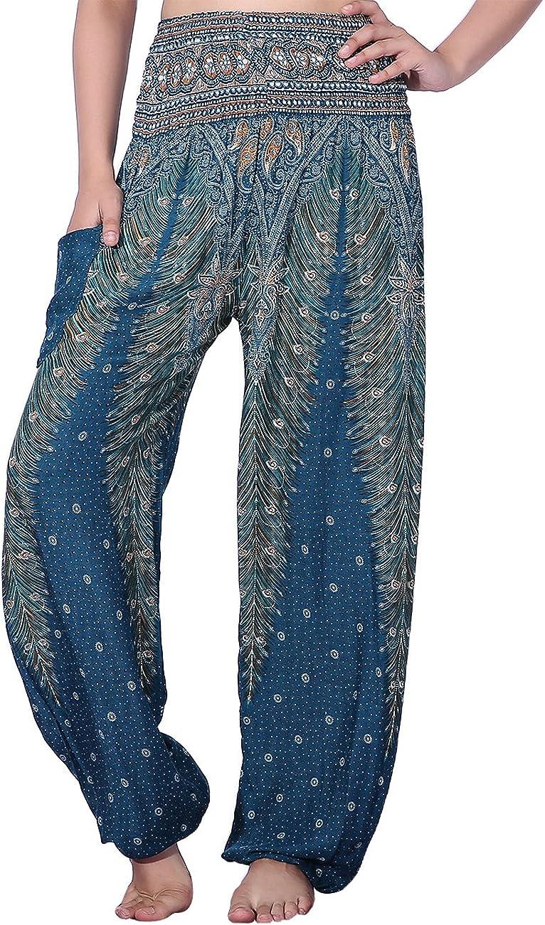 CHRLEISURE Women's Loose Harem Pants Boho Peacock Print High Waisted Yoga Pants Green,M/L