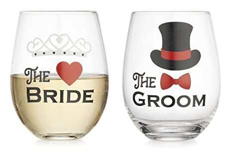 73bfb27ffca Image Unavailable. Image not available for. Color: Elegant Home Personalized  Gift Set of Two 19 Oz. Bride & Groom Stemless Wine Glass