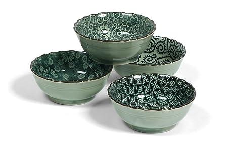 Miya Antique Green 5 Inch Diameter Japanese Bowl Set, Assortment Of 4  Designs