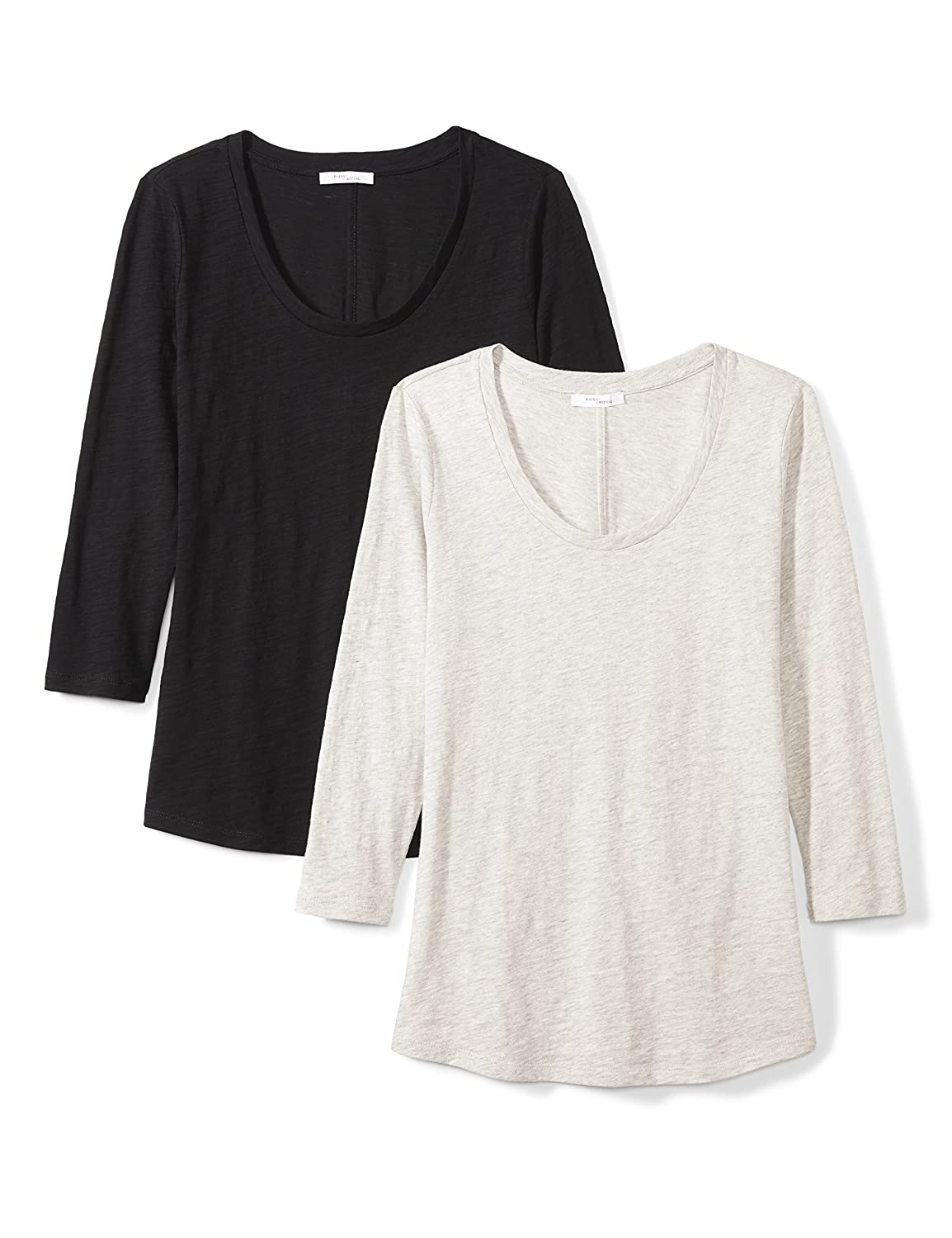 Daily Ritual Womens Lived-in Cotton Slub 3//4-Sleeve Scoop Neck T-Shirt Brand
