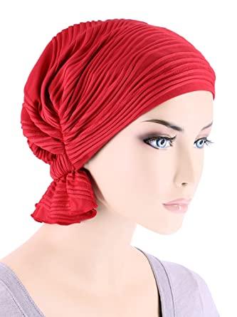 8796abfdcd8 Abbey Cap Womens Chemo Hat Beanie Scarf Turban Headwear for Cancer Blended  Knit Wave Red