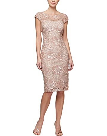 865de5eb Alex Evenings Women's Shift Midi Lace Embroidered Dress