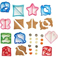 VonShef 15 Piece Sandwich and Vegetable Cutter Set - Novelty Plastic Cookie Cutters & Stainless Steel Shapes, BPA Free, 10 x Crust Cutters, 5 x Veggie/Fruit Cutters