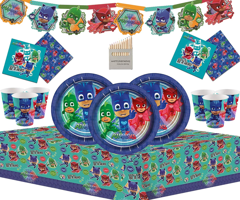 PJ Masks 50 Piezas de Juegos de vajilla de Fiesta de cumpleaños para niños Que Incluyen Banner de Carton, Platos, Tazas, servilletas y manteles - para ...