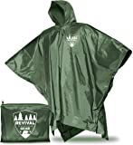Reusable Rain Ponchos: Universal FIT & Extremely Durable. Draw-String Hood and Zipper Collar. Comes in Compact Storage…