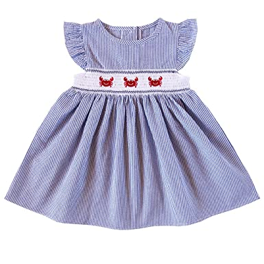 53516e434 Amazon.com  Good Lad Baby Girls Crab Embroidered Smocked Dress  Clothing