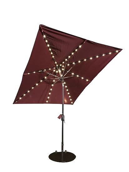 SORARA Patio Umbrella With Solar Powered Rectangular Table Umbrella With  Solar Powered 68 LED Lights With