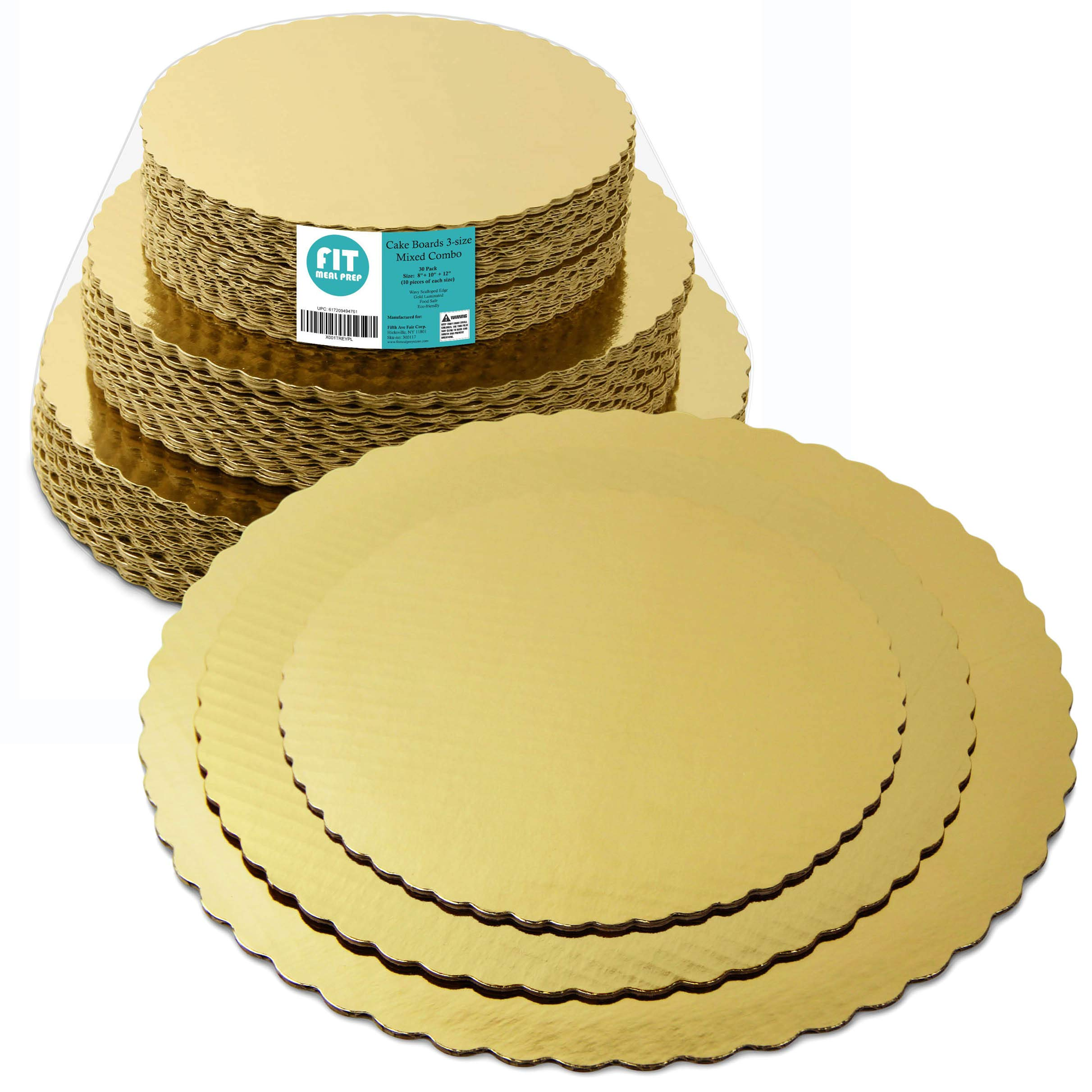 8 10 12 Inches Round Tierd Cake Boards Combo - Cardboard Disposable Layered Cake Pizza Circle Scalloped Gold Stackable Tart Decorating Base Stand - 30 Pieces by Fit Meal Prep