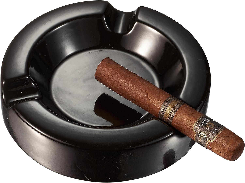 Visol Personalized Beatrix Circular Ceramic Cigar Ashtray with Free 2 Initial Engraving