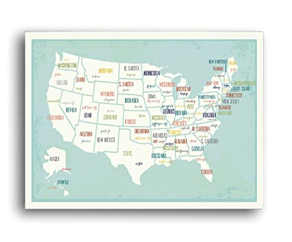 Amazon.com: Travel Decor, USA Wall Map Art Print, 24x36 ...