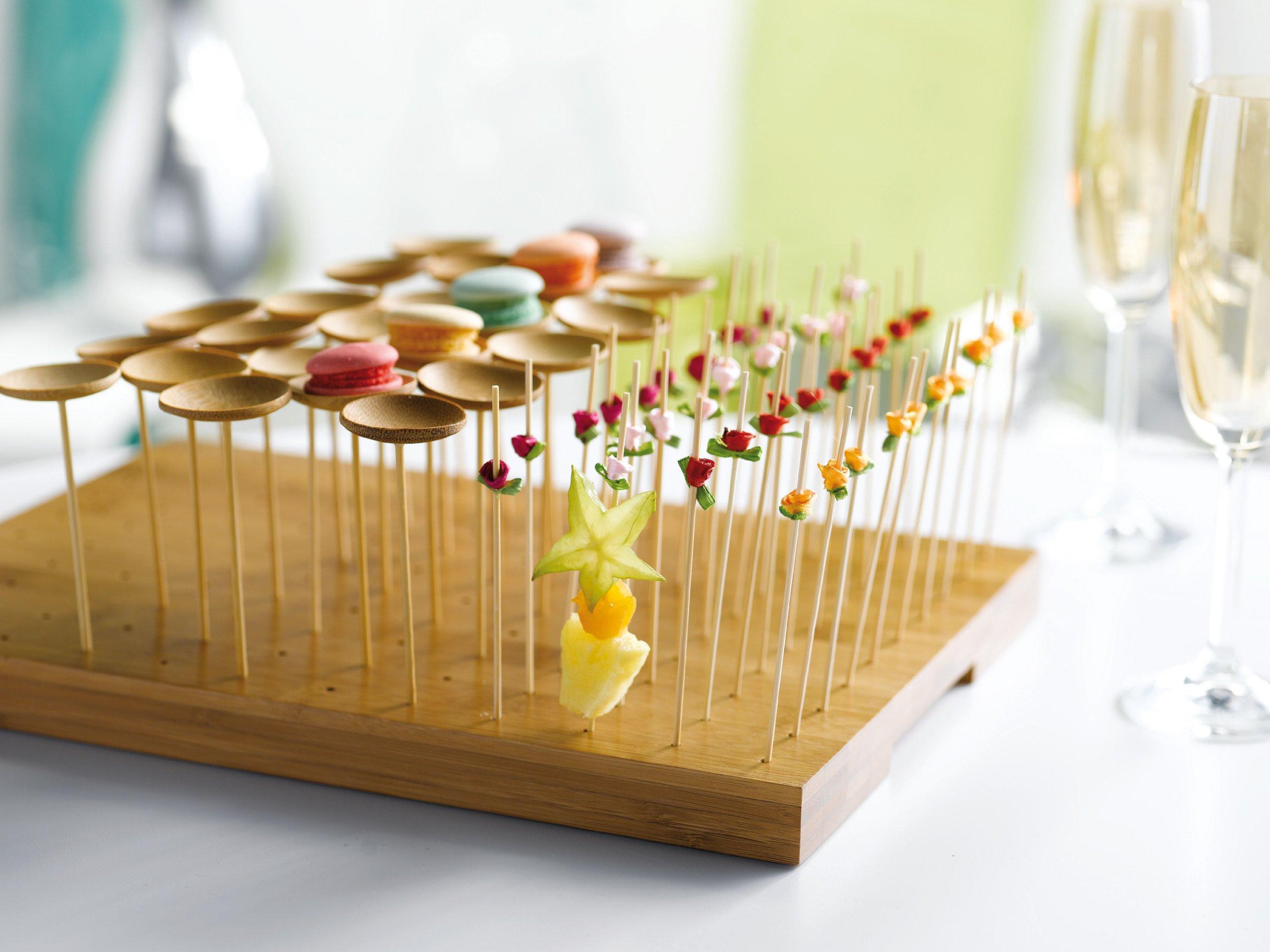 "PackNWood 209BBTHANI ""Thani'' Bamboo Mini Dish with Skewer - Length: 3.9'' Dish : 1.6'' - 144 per case by PacknWood"