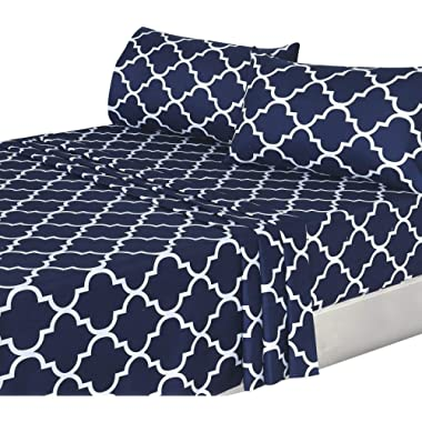 Utopia Bedding 4PC Bed Sheet Set 1 Flat Sheet, 1 Fitted Sheet, and 2 Pillow Cases (Queen, Navy)